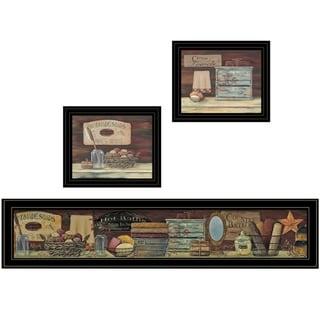 """COUNTRY BATH II"" 3-Piece Vignette by Pam Britten, Black Frame"