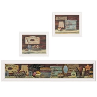 """COUNTRY BATH 1"" 3-Piece Vignette by Pam Britten, White Frame"