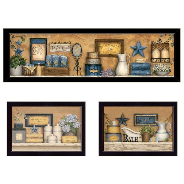 """""""Starlight Bath Collection"""" 3-Piece Vignette by Carrie Knoff, Black Frame"""