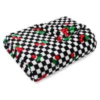 Betsey Johnson Cherry Checker Ultra Soft Plush Throw