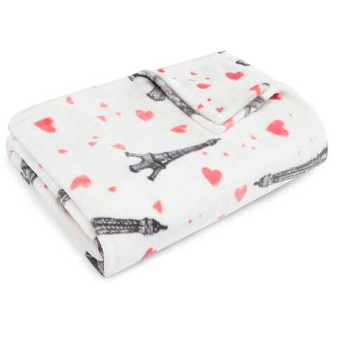 Betsey Johnson Paris Love Ultra Soft Plush Throw