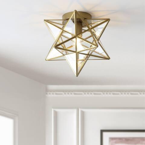 "Stella 9.75"" Moravian Star Metal/Glass LED Flush Mount, Gold by JONATHAN Y"