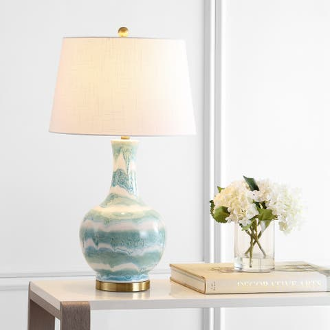 "Tucker 30.5"" Striped Ceramic/Metal LED Table Lamp, Green/White by JONATHAN Y"