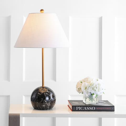 """Miami 29"""" Minimalist Resin/Metal LED Table Lamp, Gold/Black by JONATHAN Y"""