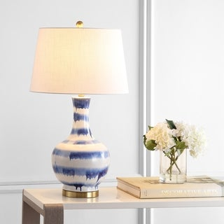 """Link to Tucker 30.5"""" Ceramic/Metal LED Table Lamp, Blue/White by JONATHAN  Y Similar Items in Table Lamps"""