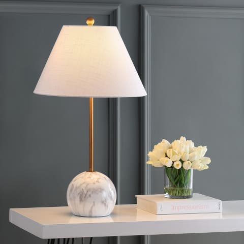 """Miami 29"""" Minimalist Resin/Metal LED Table Lamp, Gold/White by JONATHAN Y"""