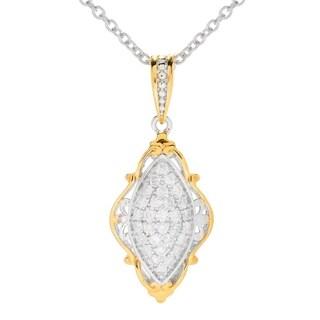 Michael Valitutti Palladium Silver Diamond Marquise Shaped Cluster Pendant