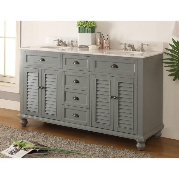 "62"" Glennville Double Sink Vintage Style Gray Bathroom Sink Vanity"