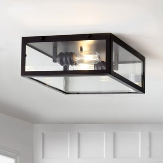 "Grayson 12"" Metal/Glass LED Flush Mount, Oil Rubbed Bronze/Clear by JONATHAN Y"