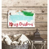 Distressed 'Merry Christmas' Holiday Sign - distressed white/red/green/aqua - 11.25 x 18