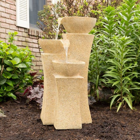 Outdoor Water Fountain With LED Lights- Lighted Pots Fountain for Patio, Lawn and Garden Décor By Pure Garden