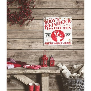 Vintage ' Rudy's Reindeer Treats' Holiday Sign - distressed white/red - 11.25 x 11.25