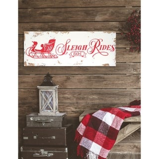 Vintage 'Sleigh Rides' Christmas Sign - distressed white/red - 9 x 24