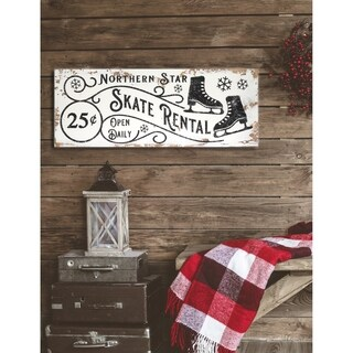 Vintage ' Northern Star Skate Rental' Holiday Sign - distressed black/white - 9 x 24