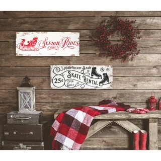 2 Piece Vintage Christmas Signs - distressed white/red/black - 9 x 24