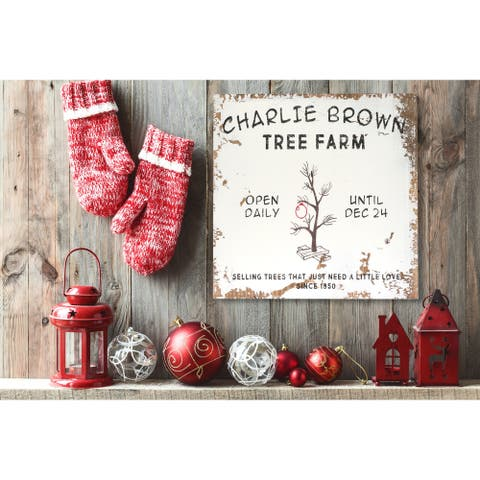Distressed ' Charlie Brown TREE FARM' Holiday Sign - distressed black/white/red - 11.25 x 11.25