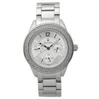 Bulova Women's 96N102 Crystal Bezel Stainless Bracelet Watch - Silver-Tone