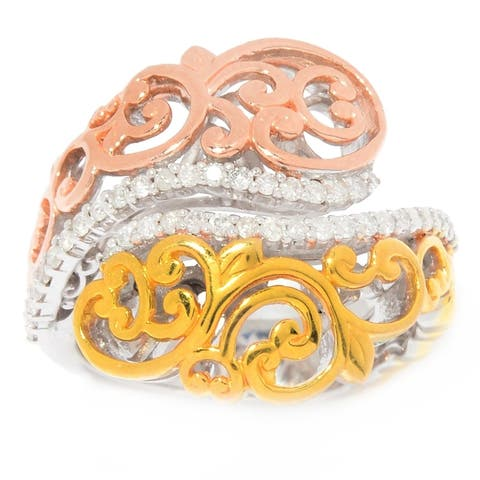 Michael Valitutti Palladium Silver Diamond Tri-Color Scrollwork Bypass Ring