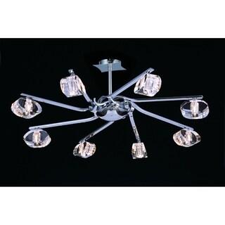 Mantra Lighting 8-light Chrome Finish and Crystal Semi-flush Light