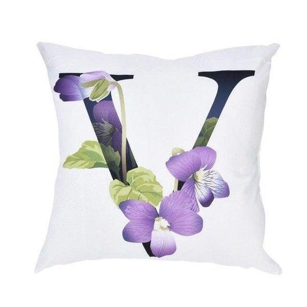 Alphabet Print Pillow Case Polyester Sofa Car Cushion Cover-A96