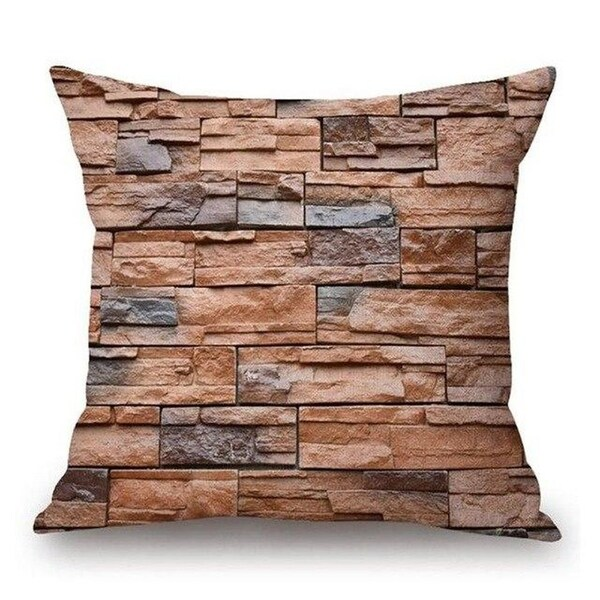 Cushion cover Woodgrain And Rock Stones Print-A294