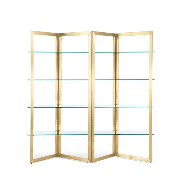 Calabasas Goldtone Stainless Steel/Glass Etagere