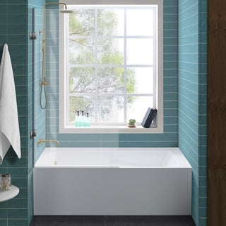 Swiss Madison Voltaire, Acrylic White, Alcove, Integral, Apron tub