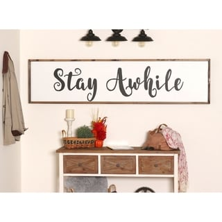 Extra Large STAY AWHILE Farmhouse Wood Sign - 72 x 17
