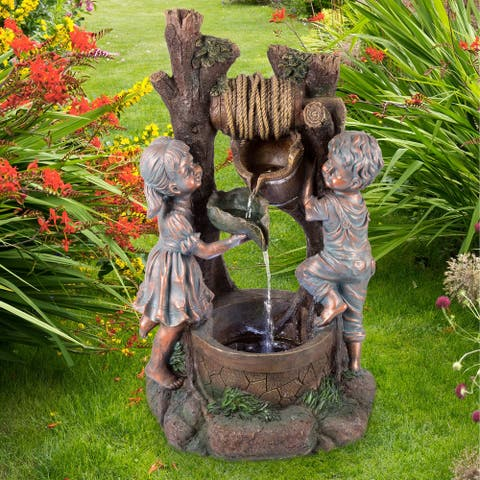 Children at the Well Water Fountain with LED Lights- Lighted Outdoor Fountain for Décor on Patio, Lawn and Garden by Pure Garden