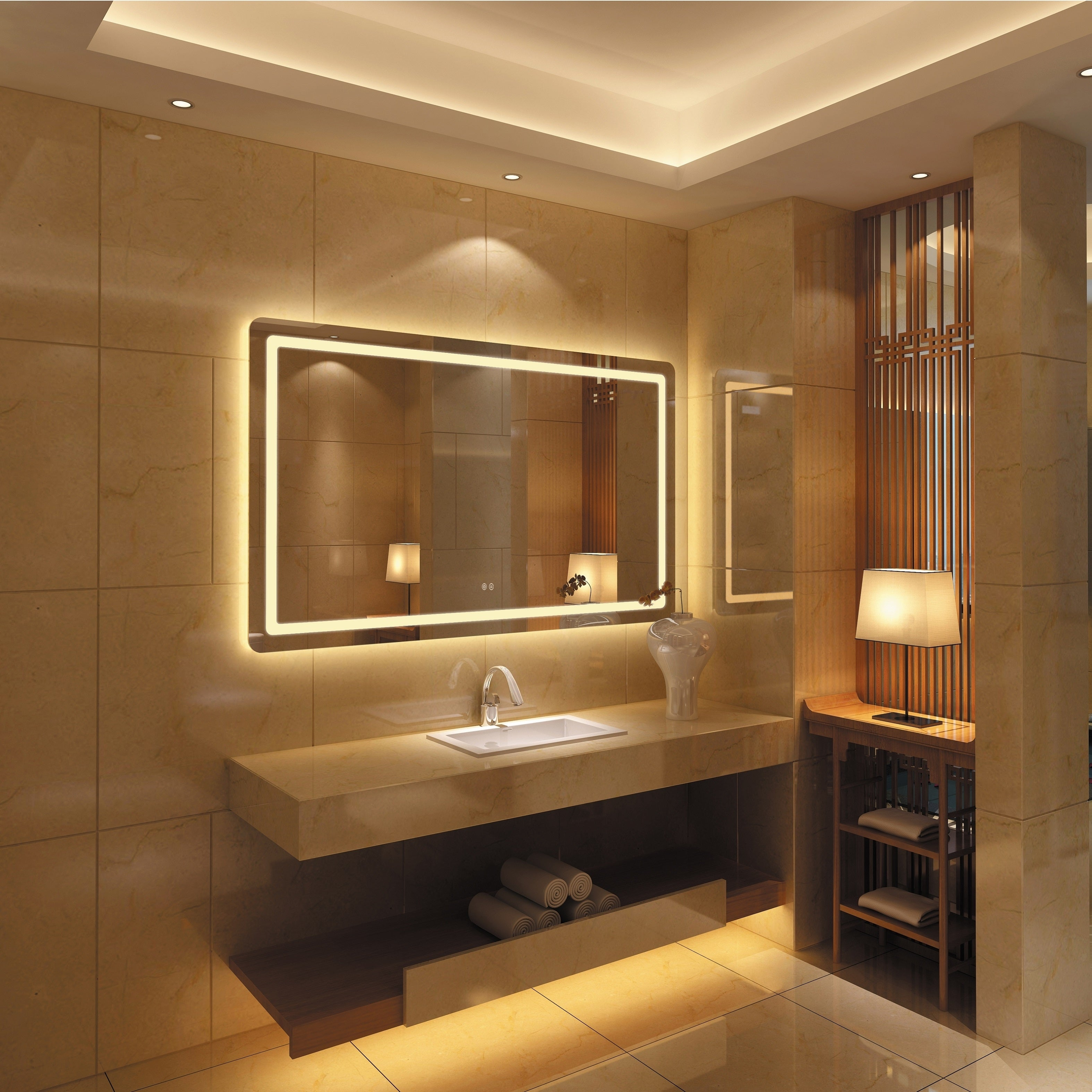 Picture of: Shop Frameless Wall Mounted Led Bathroom Mirror Colorless Overstock 25435138