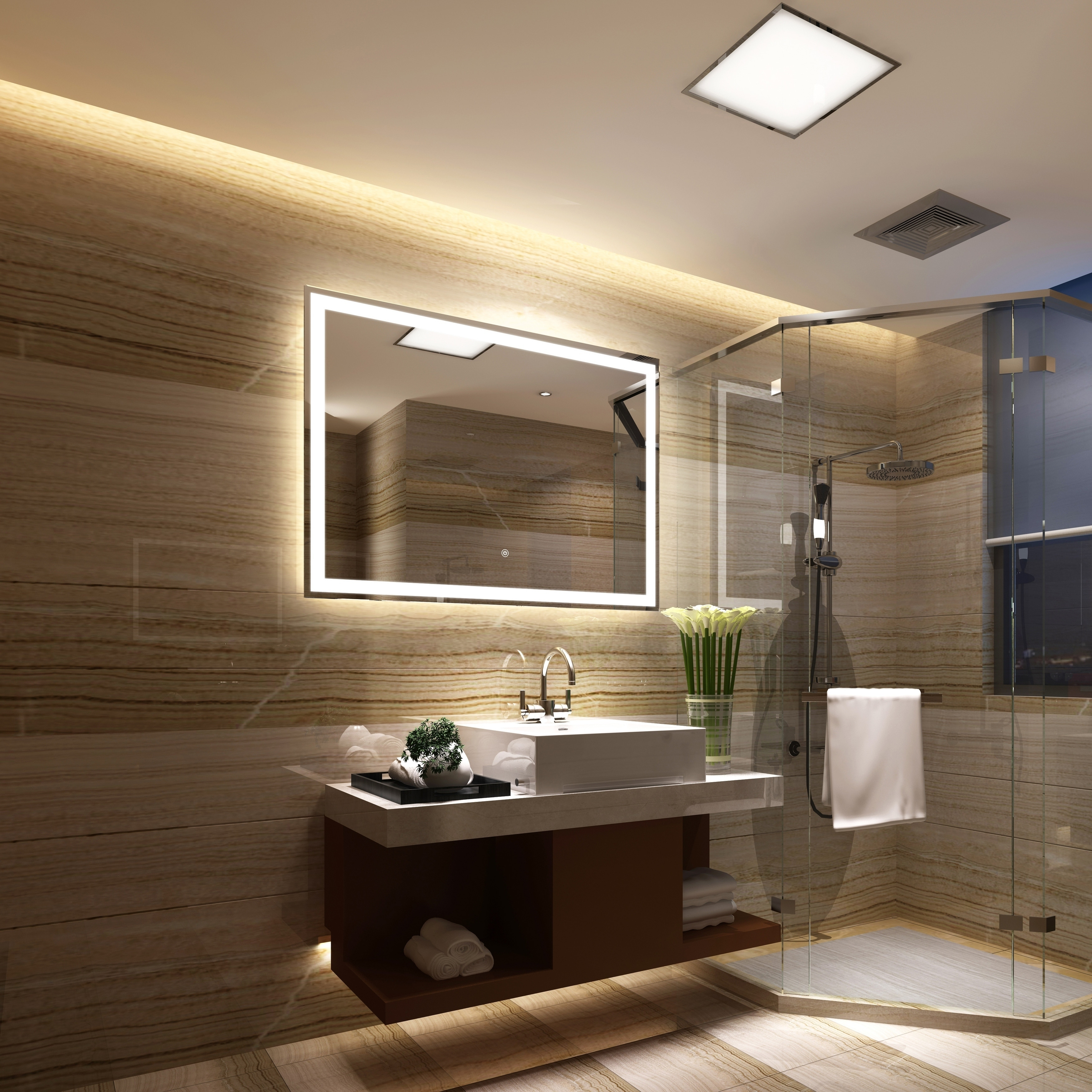 Picture of: Shop Frameless Wall Mounted Led Bathroom Mirror Colorless Overstock 25435176