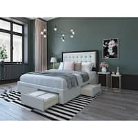 DG Casa Cosmo Beige/Espresso LInen Queen Upholstered Platform Storage Bed