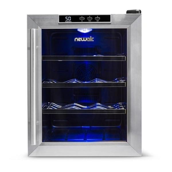 NewAir Silent Wine Refrigerator 12 Bottle Stainless Steel Refurbished