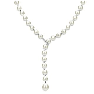 DaVonna Sterling Silver 7-8mm Freshwater Pearl Adjustable Y Necklace, 19.5""