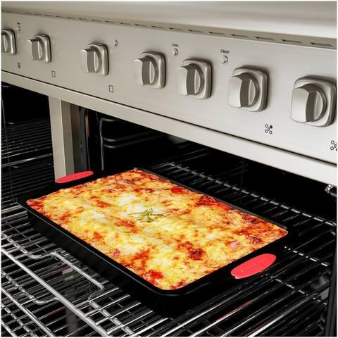 Baking Pans-2 Piece Nonstick Rectangular Cookware Set, Silicone Grip Handles by Classic Cuisine