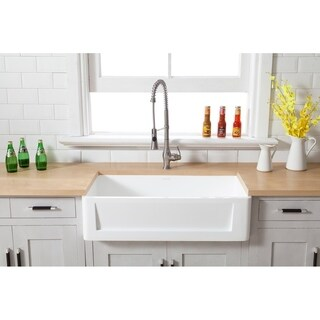 Kingston Brass Arcticstone Collection Farmhouse Solid Surface White Stone 33-inch Single Bowl Kitchen Sink