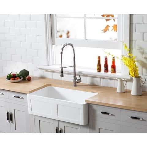 "Farmhouse Solid Surface White Stone 33-inch Single Bowl Kitchen Sink - 33"" x 18"""