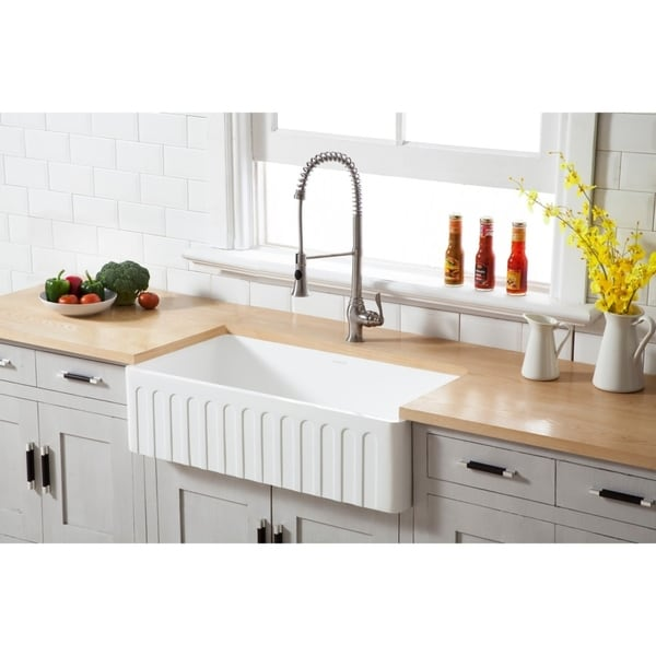 Shop Kingston Brass White Stone Solid-surface 36-inch X 18