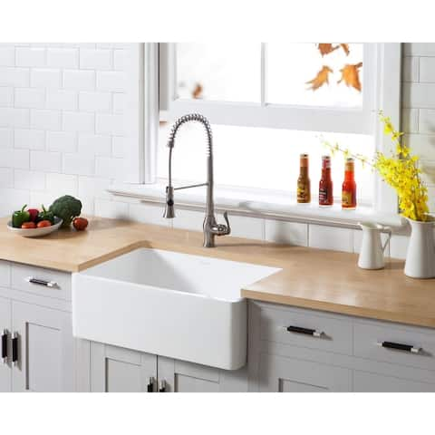 "Farmhouse Solid Surface White Stone 30-inch Single Bowl Kitchen Sink - 30"" x 18"""