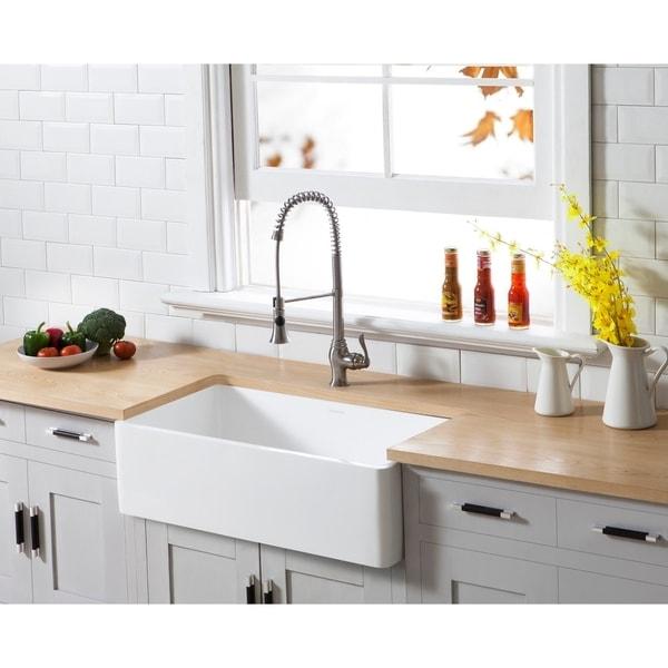 Shop Kingston Brass Farmhouse Solid Surface White Stone 33-inch X 18-inch Single Bowl Kitchen
