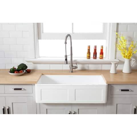 "Farmhouse Solid Surface White Stone 36-inch Single Bowl Kitchen Sink - 36"" x 18"""