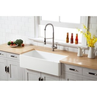 Kingston Brass White Stone Solid-surface 36-inch x 18-inch Farmhouse Single-bowl Kitchen Sink