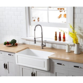 Kingston Brass Farmhouse Solid Surface White Stone 33-inch x 18-inch Single Bowl Kitchen Sink