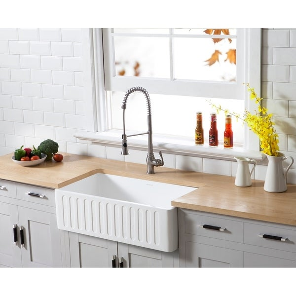 """Farmhouse Solid Surface White Stone 33-inch Single Bowl Kitchen Sink - 33"""" x 18"""". Opens flyout."""