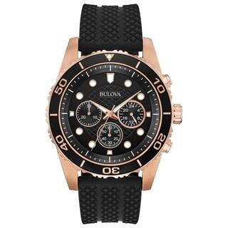 Bulova Men's 98A192 Rosegold Chrono Black Dial Rubber Strap Watch