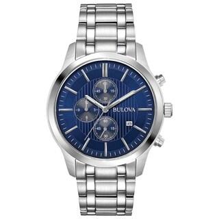 Bulova Men's 96B306 Stainless Blue Dial Chrono Bracelet Watch