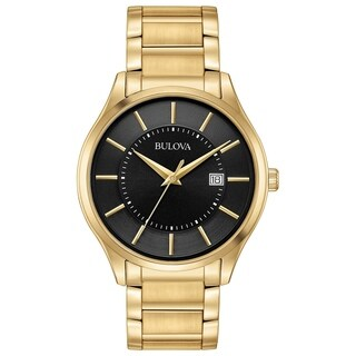 Bulova Men's 97B182 Goldtone Stainless Black Dial Bracelet Watch