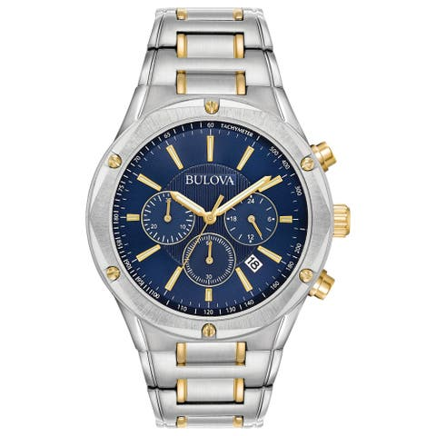 Bulova Men's 98B284 Two-Tone Stainless Blue Dial Chrono Bracelet Watch