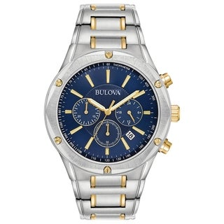 Link to Bulova Men's 98B284 Two-Tone Stainless Blue Dial Chrono Bracelet Watch Similar Items in Men's Watches
