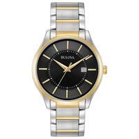Bulova Men's 98B290 Two-Tone Black Dial Bracelet Watch